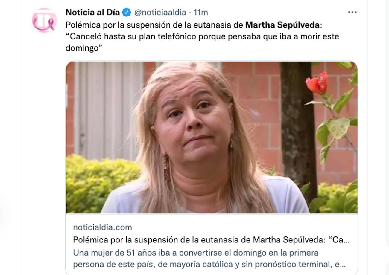 La colombiana Martha Sepúlveda, que tenía programada una eutanasia para este domingo 10 de octubre.