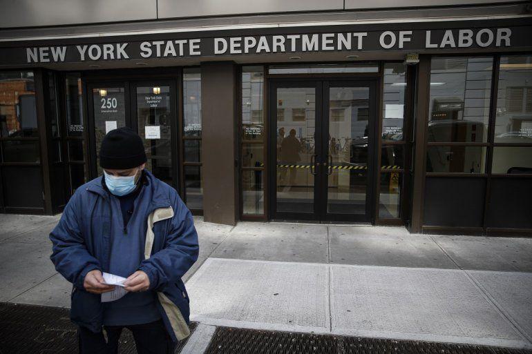Fotografía del 18 de marzo de 2020frente al Departamento de Trabajo en Nueva York