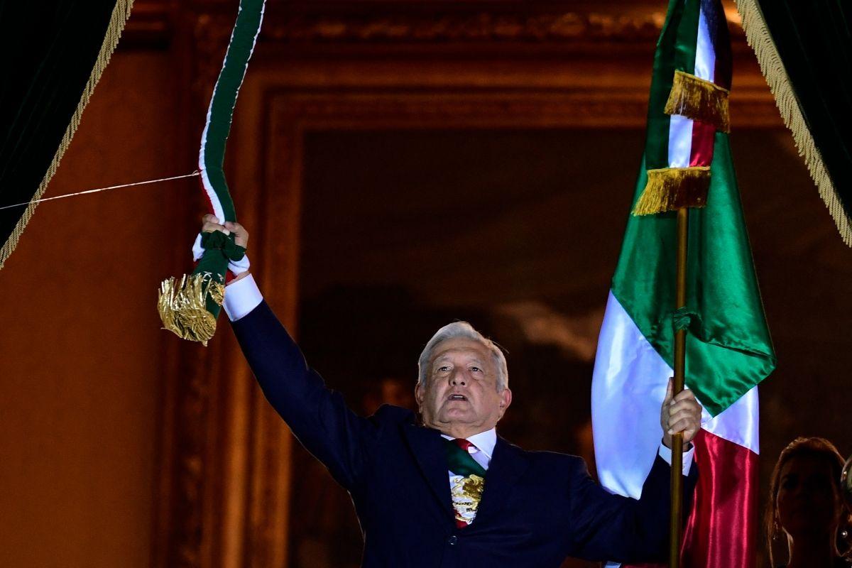 El presidente de México Andrés Manuel López Obrador en los actos de celebración por la Independencia del país.