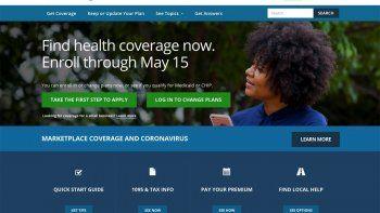 La página principal del portal HealthCare.gov. Los clientes de seguros médicos en Estados Unidos pudieran recibir rebajas de primas más altas que lo usual este año en parte porque las aseguradoras tuvieron que pagar por menos cobertura tras el estallido de la pandemia de coronavirus en el 2020.
