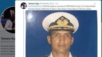 Fotografía publicada en su cuenta de Twitter por la abogada venezolana Tamara Suju, quien denunció la muerte del capitán de corbeta Rafael Acosta Arévalo a manos del régimen de Nicolás Maduro.