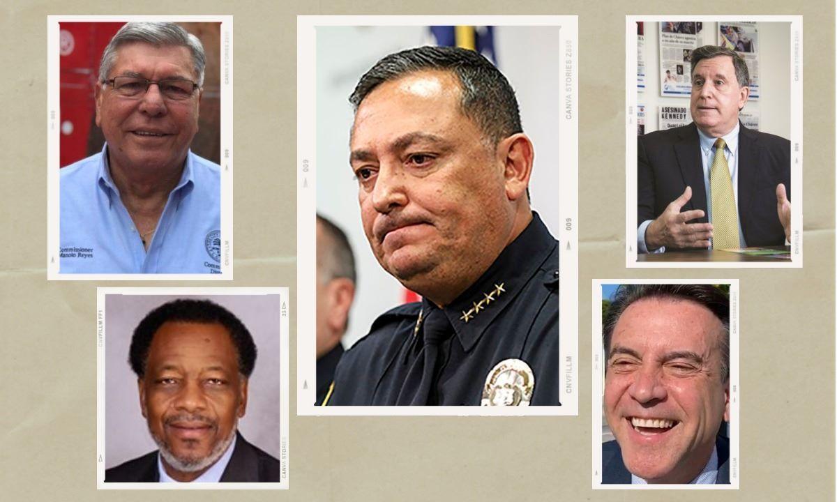 photo Art Acevedo, jefe de la Policía y comisionados de la ciudad de Miami.