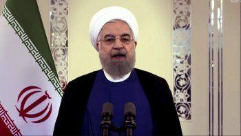 Imagen tomada de la señal de video de UNTV, en la que aparece el presidente iraní, Hassan Rouhani, hablando en un video en la Asamblea General de Naciones Unidas.