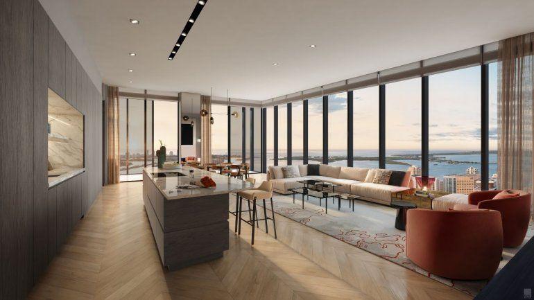 Imagen de cómo se vería una de las habitaciones residenciales del Waldorf Astoria.
