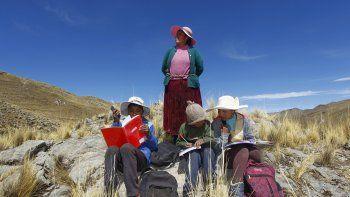 En esta foto de archivo tomada el 24 de julio de 2020, varios niñosacompañados por su madre Raymunda Charca, en la cima de un cerro donde pueden captar la señal en su teléfonos móviles para recibir clases virtuales durante la pandemia del nuevo coronavirus COVID-19, cerca de su casa en la remota comunidad serrana de Conaviri, distrito de Manazo, en los Andes peruanos.