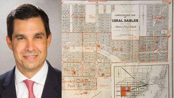 El vicealcalde de Coral Gables, Vince Lago, donó al Museo de Coral Gables un importante mapa de la ciudad, que ahora integra la colección permanente de dicho museo.