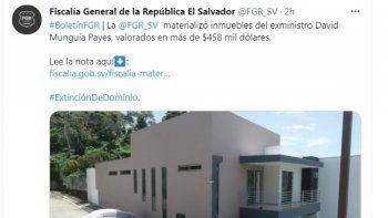 Con este procedimiento se concluye la etapa de incautación de los bienes del exministro de Defensa de El Salvador, el general David Munguía Payés, al que en octubre 2020 le embargaron ocho propiedades valoradas en 1,4 millones de dólares.