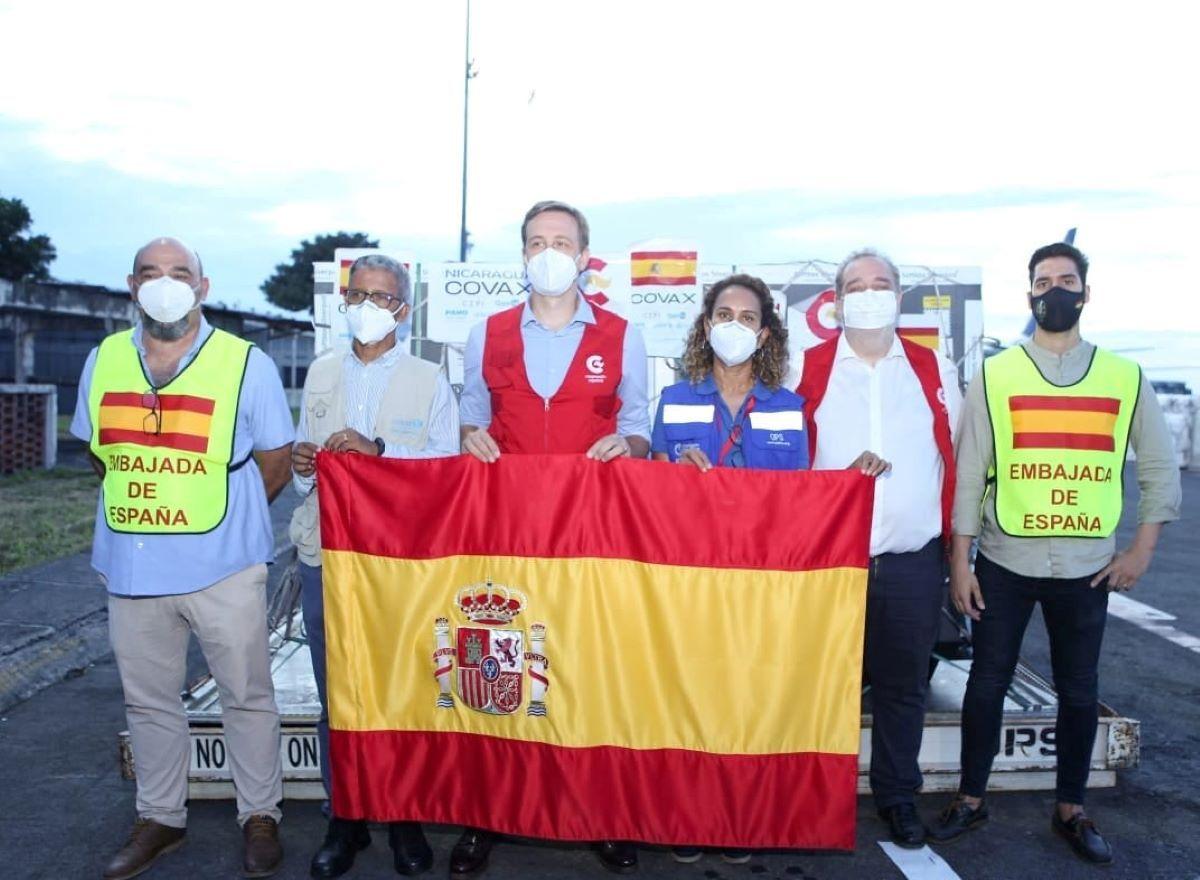 España entregó a Nicaragua casi medio millón de dosis de AstraZeneca para apoyar el proceso de vacunación contra COVID-19. 26 de septiembre 2021.