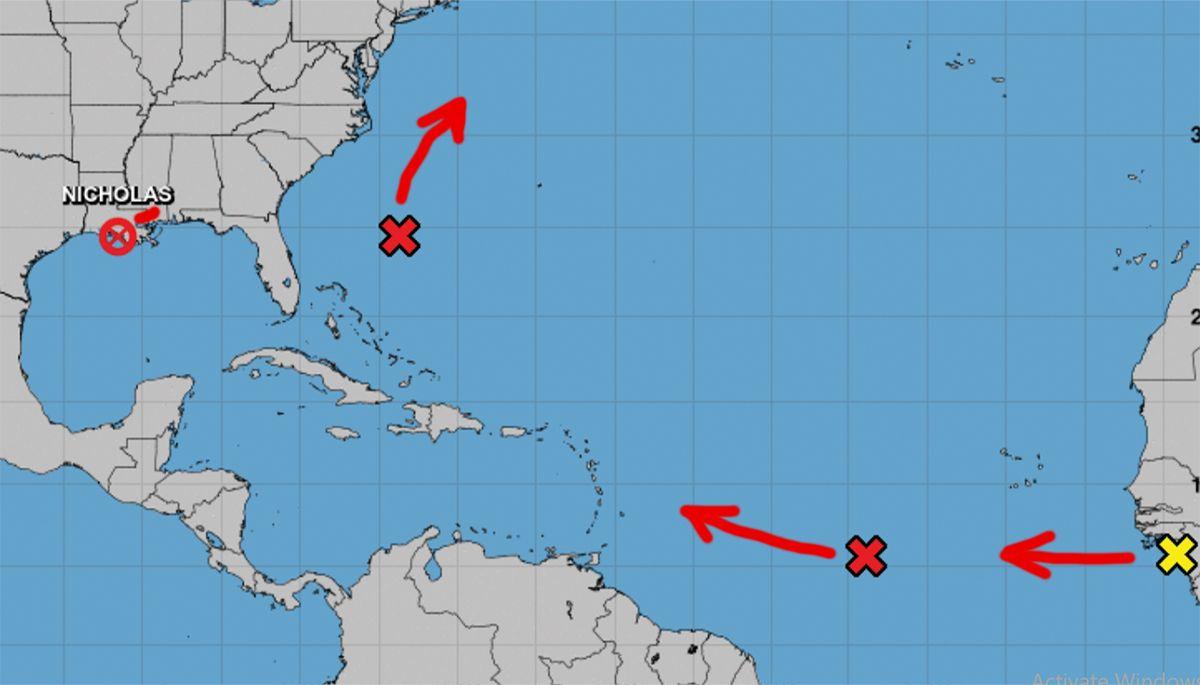 Localización y proyección de movimiento de zonas de mal tiempo, 16 de sept de 2021.
