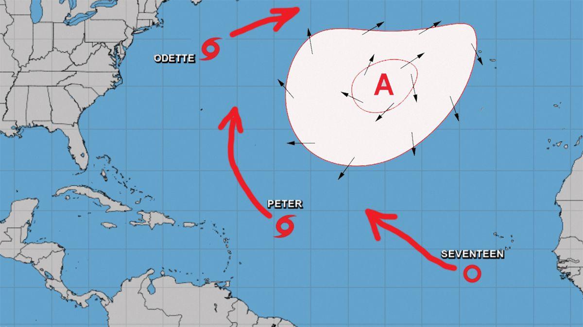 Localización y proyección de movimiento de tormentas tropicales Odette y Peter y depresión tropical 17, el 19 de sept de 2021.