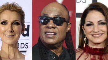 En esta combinación de fotos, Celine Dion, Stevie Wonder y Gloria Estefan, de izquierda a derecha, quienes están entre los artistas que participarán en un concierto a beneficio de las enfermeras programado para el Día de Acción de Gracias.