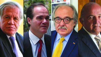 Luis Almagro, secretario general de la OEA; Mauricio Claver-Carone, presidente del BID; Asdrúbal Aguiar, secretario general del grupo IDEA; Nelson J. Mezerhane G., editor de DIARIO LAS AMÉRICAS y director de la Fundación IDEA.