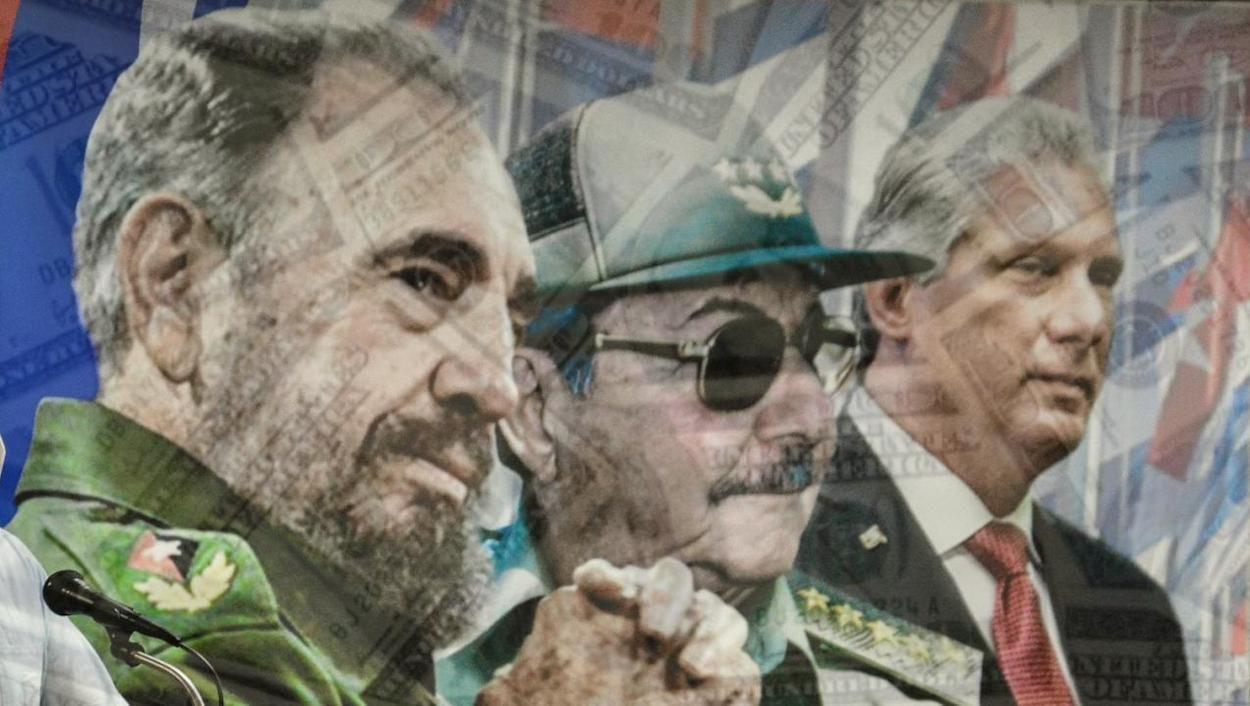 Fidel y Raúl Castro y Miguel Díaz-Canel.