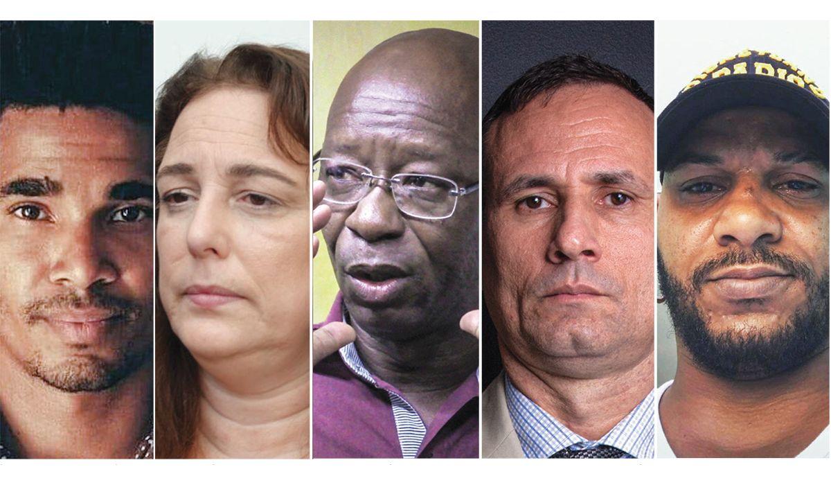 De izq. a der., los opositores cubanos Luis Manuel Otero Alcántara, Tania Bruguera, Manuel Cuesta Morúa, José Daniel Ferrer y Maykel Osorbo.