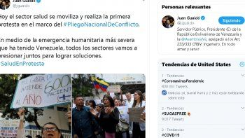 En el hospital J.M de los Ríos, en la ciudad de Caracas, cuerpos de seguridad a servicio de la dictadura se presentaron para amedrentar la protesta pacífica de los galenos. Ante este hecho, el líder opositorenvió un mensaje a los cuerpos policiales.