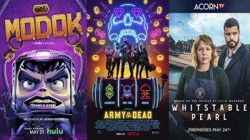 En esta combinación de fotos los estrenos de la semana: Marvels Modok., que se estrena el 21 de mayo en Hulu; Army of the Dead, que debuta el 21 de mayo en Netflix, y Whitstable Pearl, una serie original de Acorn TV que se estrena el 24 de mayo.