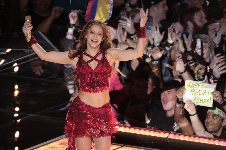 Shakira durante su presentación en el espectáculo de medio tiempo en del Super Bowl 54 de la NFL entre los Chiefs de Kansas City y los 49ers de San Francisco el domingo dos de febrero de 2020 en Miami Gardens