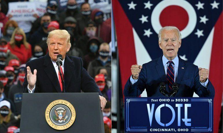 Esta combinación de imágenes muestra al presidente Donald Trump