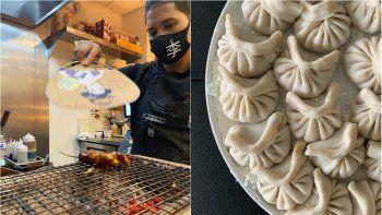 A la izquierda, elchef Raymond Li se alistapara una presentación culinaria. Al lado, unos dumplings de camarón con trufa negra, preparados por el chef.