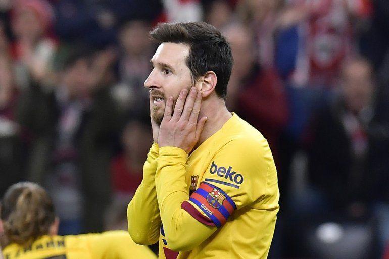 El delantero argentino del Barcelona Lionel Messi durante el partido contra el Athletic Bilbao por la Copa del Rey