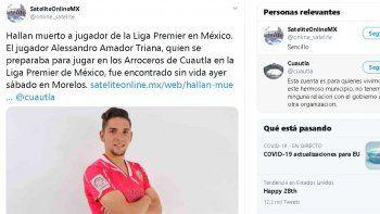 Algunos medios de comunicación de dicha ciudad señalaron que el cuerpo del futbolista presentaba diversos golpes en el rostro, pecho y abdomen