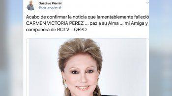 Locutores, artistas, periodistas y personalidades lamentaron el fallecimiento de una de las figuras más importante de la televisión venezolana.