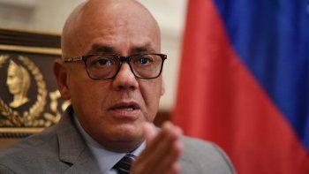 Jorge Rodríguez, presidente de la ilegítima Asamblea Nacional del régimen de Nicolás Maduro, concede una entrevista el viernes 15 de enero de 2021, en la sede legislativa, en Caracas, Venezuela.