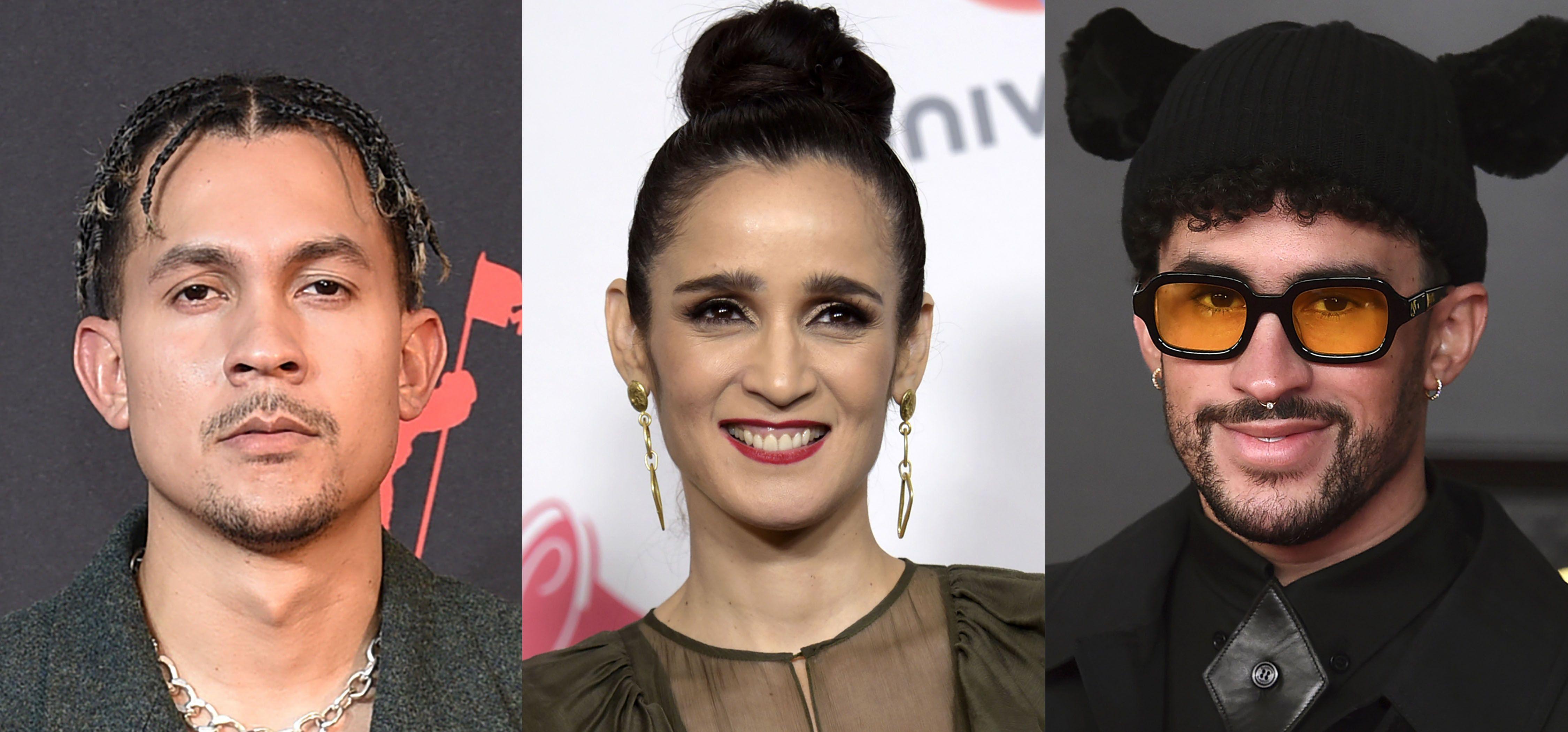 En esta combinación de fotografías de izquierda a derecha: Tainy, Julieta Venegas y Bad Bunny. Tainy lanzó la canción Lo Siento BB:/ con Venegas y Bad Bunny.