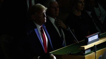 Fotografía del 23 de septiembre de 2019 delpresidente Donald Trump durante la Cumbre de Acción Climática en el marco de la Asamblea General de las Naciones Unidas, en Nueva York.