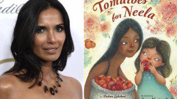 Padma Lakshmi aparece en los Producers Guild Awards en Beverly Hills, California, el 19 de enero de 2019, izquierda, y la portada de Tomatoes for Neela, un libro para niños escrito por Lakshmi, con ilustraciones de Juana Martinez-Neal.