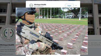 Fotografía de los paquetes de cocaína detectados por las autoridades panameñas en un barco procedente de Cuba, publicadas en la cuenta oficial de Twitter del Ministerio de Segiuridad Pública.
