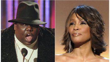 En esta combinación de fotos, Notorious B.I.G., ganador de los premios al mejor artista de rap y sencillo de rap del año, durante la ceremonia de los Premios Billboard de la Música el seis de diciembre de 1995 en Nueva York, y la cantante Whitney Houston durante la gala de los Premios BET en Washington el 17 de enero del 2009.