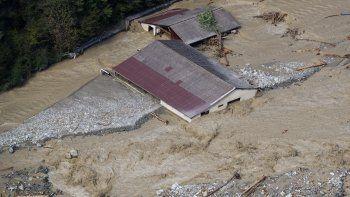 Vista aérea de una edificación totalmente inundada y cubierta de lodo enRoquebilliere,en el sudeste deFrance, luego de que intensas lluvias afectaran el departamento de Alpes Maritimos, el sábado 3 de octubre de 2020.