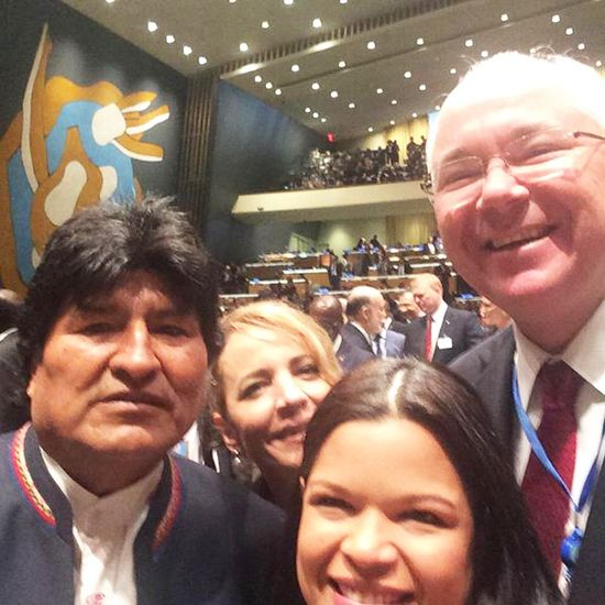 Evo Morales y los embajadores de Maduro en la ONU