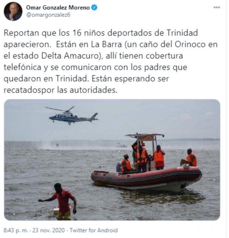 Captura de pantalla de mensaje difundido en Twitter por el diputado Omar Gonzalez