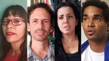 Aparecen en este orden los periodistas : Iliana Hernández, reporta para Cibercuba; Boris González, reporta para Diario de Cuba; Camila Acosta, reporta para Cubanet, y el artista independiente Luis Manuel Otero Alcántara.