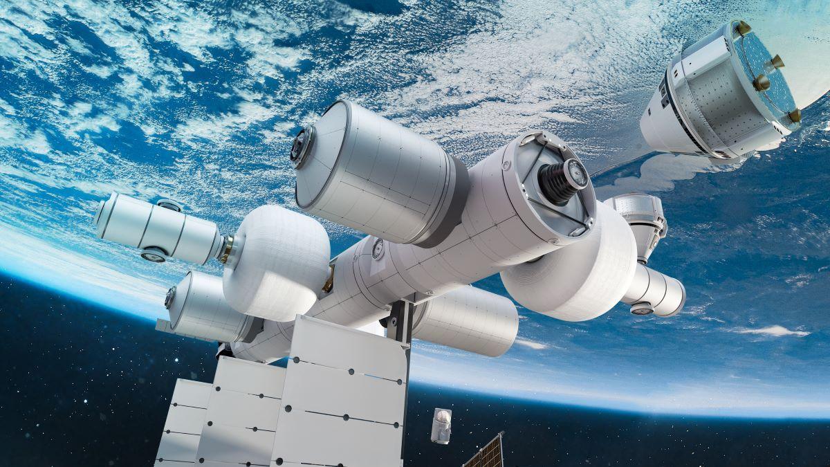 Diseño digital de lo que será la estación espacial de Blue Origin.