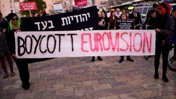 Judíos israelíes y activistas árabes protestan contra la 64 edición del concurso de talento musical Eurovisión, que llega a la gran final este sábado 18 de mayo.
