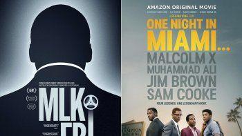 Esta combinación de fotos muestra el afiche del documental MLK/FBI, izquierda, que se estrena en cines selectos y On Demand el 15 de enero, y la película One Night in Miami que se estrena el 15 de enero en Amazon Prime.