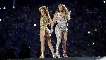 ShakirayJennifer Lópezdurante su presentación en el espectáculo de medio tiempo del Super Bowl 54 de la NFL el domingo 2 de febrero, en Miami Gardens, Florida.