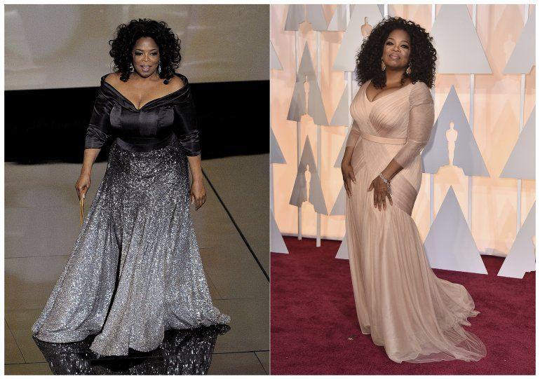 Una combinación de fotografías muestra a Oprah Winfrey en el escenario para presentar el premio a mejor documental en la 83 entrega de los Premios de la Academia en Los Ángeles el 27 de febrero de 2011