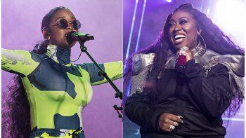 Esta combinación de fotografías muestra a H.E.R. durante su presentación en el Festival Essence 2019 en Nueva Orleans el seis de julio de 2019, izquierda, y Missy Elliott durante su presentación en el Festival Essence 2019 el cinco de julio de 2019. Las artistas colaboraron para el nuevo comercial de Pepsi para el Súper Bowl.