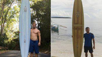 Combinaciónde dos fotografías: a la izquierda, una foto tomada por Brent Bielman el 18 de octubre de 2015 del surfista Doug Falter posando con su tabla de surf en Hawái, y a la derecha, una foto sin fecha tomada en 2020, cortesía de Giovanne Branzuela posando con la misma tabla de surf en la isla de Sarangani en Filipinas.