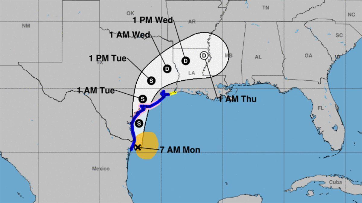 Proyección, tormenta tropical Nicholas, 2021.