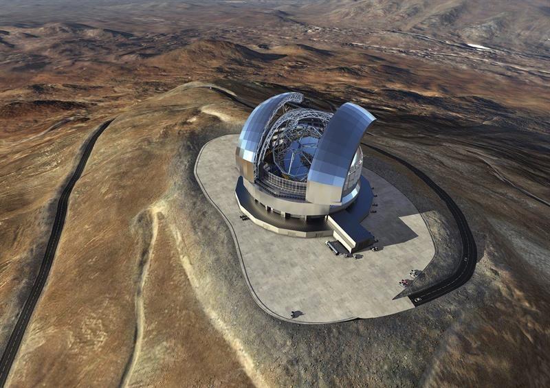 Fotografía facilitada por el Observatorio Europeo Austral que muestra una imagen renderizada del European Extremely Large Telescope (E-ELT)