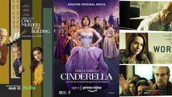 En esta combinación de fotos, el arte promocional de la serie de Hulu Only Murders in the Building, que se estrena el 31 de agosto; la película original de Amazon Cinderella, que debuta el 3 de septiembre; y la película de Netflix Worth, que también llega el 3 de septiembre.