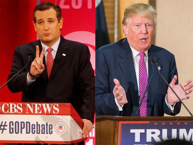 Los aspirantes republicanos Ted Cruz y Donald Trump