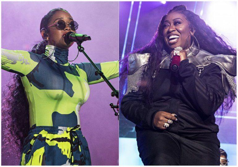 Esta combinación de fotografías muestra a H.E.R. durante su presentación en el Festival Essence 2019 en Nueva Orleans el seis de julio de 2019