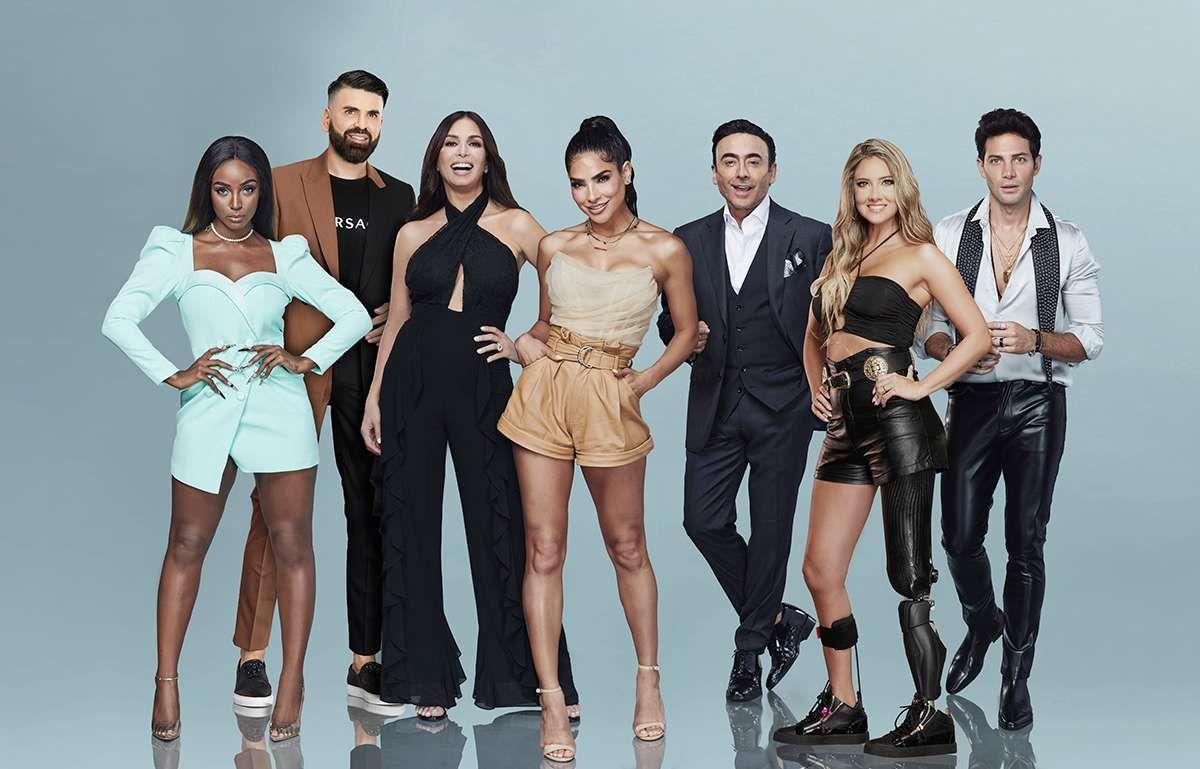 """El jurado de """"Nuestra Belleza Latina"""" incluye a Giselle Blondet; Jomari Goyso, conductor de """"Sal y Pimienta""""; y en su debut en el programa, Daniella Álvarez, conductora de televisión y modelo; y Adal Ramones, conductor de televisión y cómico."""