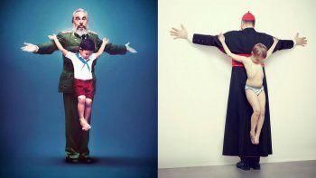 Doctrina, una obra del artista Erik Ravelo denuncia el uso de niños por parte del régimen castrista para participar en actos de repudio en Cuba. En la foto Doctrina, obra de Erik Ravelo, a la iquierda junto a otra pieza de su serie Intocables.